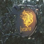 Illuminated Bracu Restaurant outdoor sign