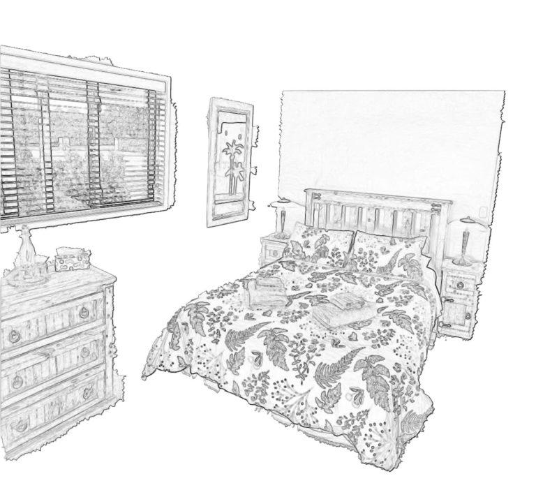 sketch of tub wing bedroom