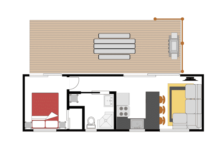 Kea Cabin - tiny house accommodation floor plan