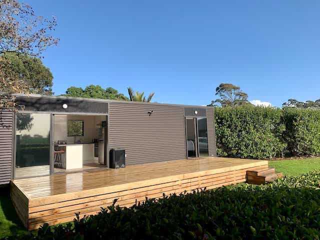 Exterior view of Kea Cabin tiny house accommodation