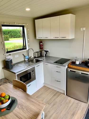 Kitchenette with microwave oven, fridge and stove top