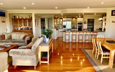Shared accommodation with open lounge and kitchen area